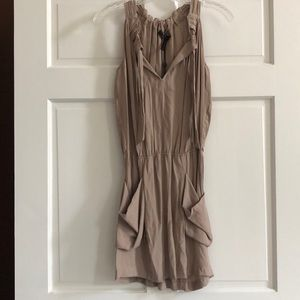 Tan dress with tie and cinched waist